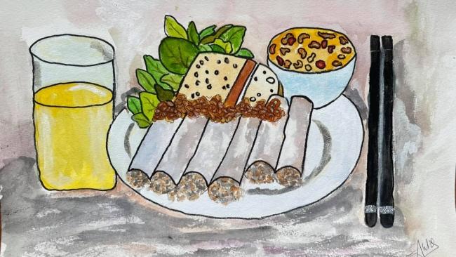 Thưởng thức món ăn đường phố Hà Nội thông qua tranh ký họa